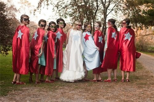 bridesmaids,capes,costume,superheroes,weddings