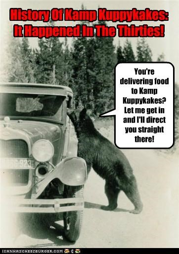 You're delivering food to Kamp Kuppykakes? Let me get in and I'll direct you straight there! History Of Kamp Kuppykakes: It Happened In The Thirties!