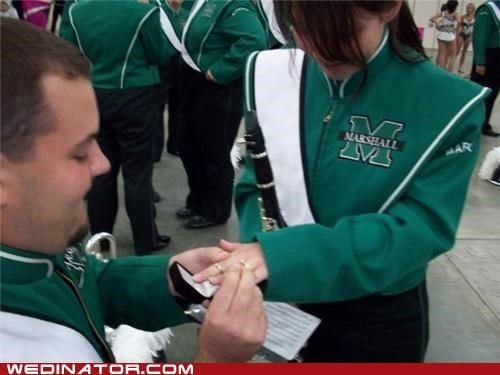 funny wedding photos,marching band,proposal