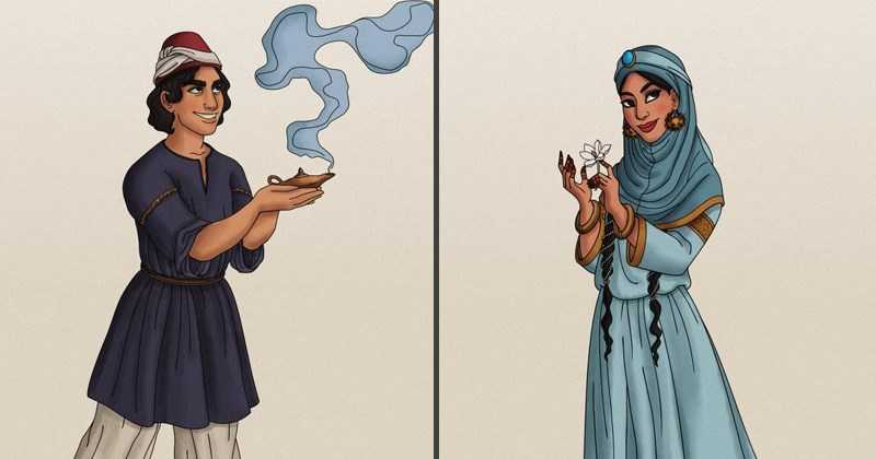 Drawings of characters from disney, historically accurate clothing.