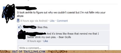 bear grylls,facebook,piss,poetry