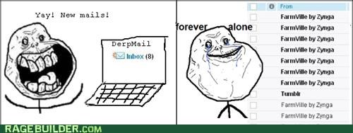 Farmville,forever alone,mail,Rage Comics