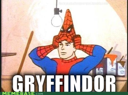 gryffindor,Harry Potter,lolllll,sorting hat,spdierman,Spider-Man,superheroes