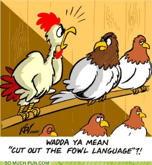 foul fowl homophone indignant language literalism upset - 4786532096