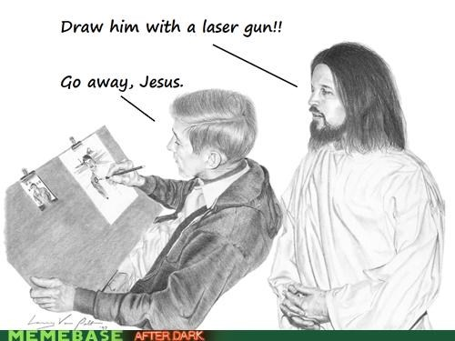 drawing,jesus,lasers,LOL Jesus,pen