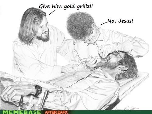 dentist flossing grillz LOL Jesus mouth teeth - 4786778112