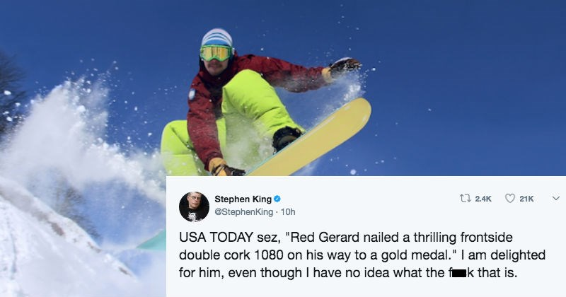 FAIL stephen king snowboarding extreme goofy olympics - 4787717