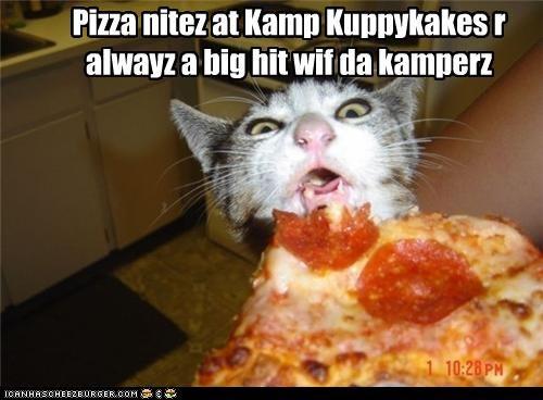 Pizza nitez at Kamp Kuppykakes r alwayz a big hit wif da kamperz