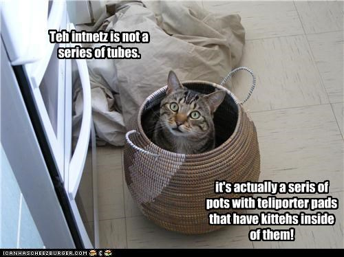 Teh intnetz is not a series of tubes. it's actually a seris of pots with teliporter pads that have kittehs inside of them!