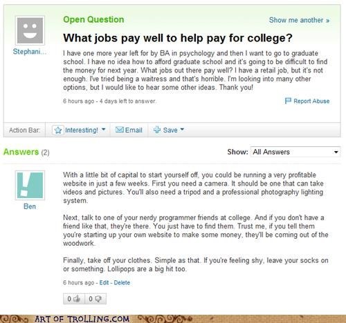 college money stripping Yahoo Answer Fails - 4789502976