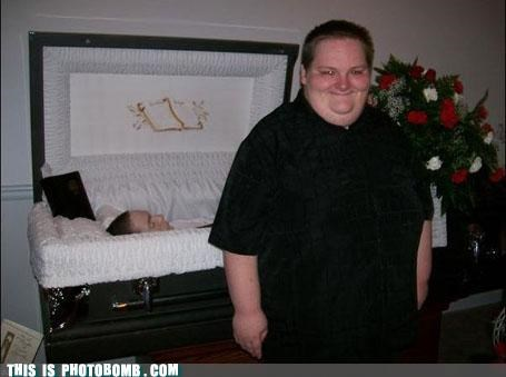 Awkward bad timing funeral smile