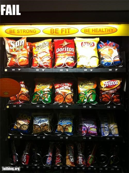 Be Strong, Be Fit, Be Healthy? Vending machine full of junk food saying be fit and healthy