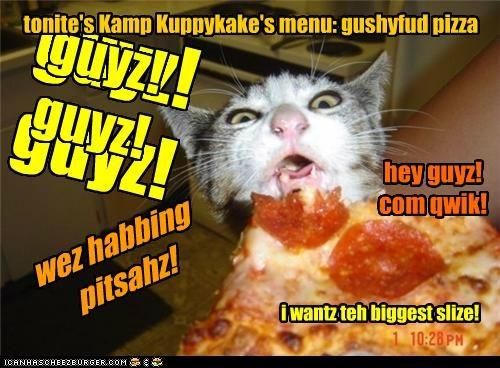 guyz! guyz! wez habbing pitsahz! hey guyz! com qwik! i wantz teh biggest slize! tonite's Kamp Kuppykake's menu: gushyfud pizza guyz! guyz!