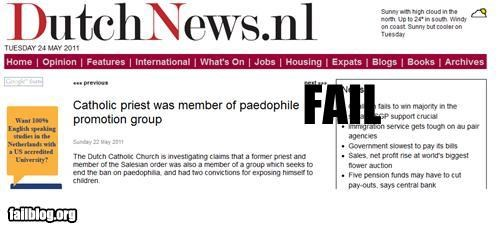 catholic conflict of interest failboat headline innuendo Probably bad News religion
