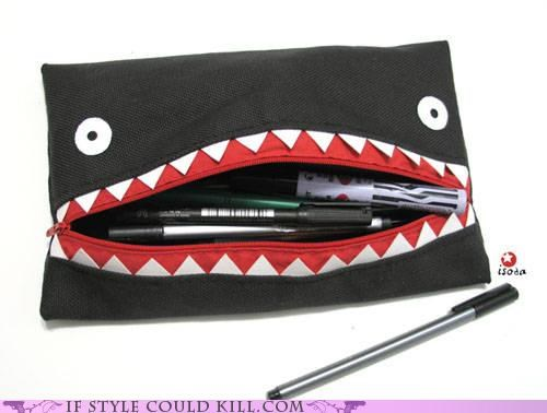 case fabric face mouth nom nom nom pencils zipper - 4791310592