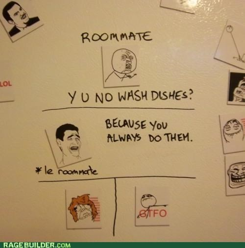 dishes,gtfo,Rage Comics,roommates