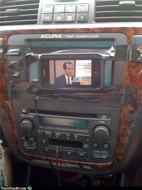 apple products,arrested development,dashboard,holding it up,ipod,tape,tv reference