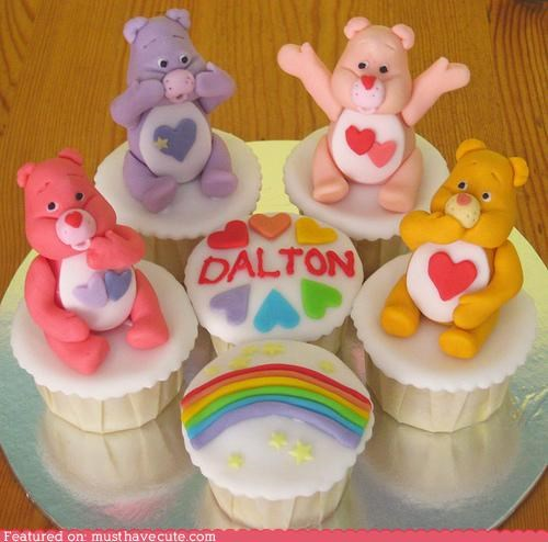 birthday,care bears,cupcakes,dalton,epicute,fondant,rainbow
