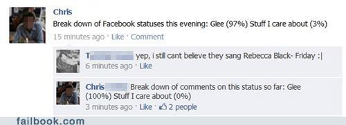 glee,percentages,statuses