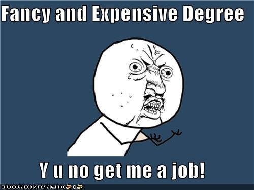 Fancy and Expensive Degree Y u no get me a job!