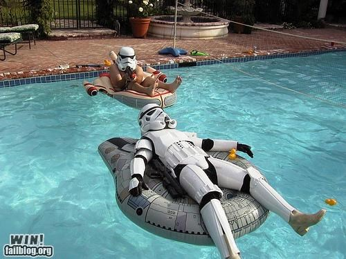 nerdgasm,pools,relaxing,star wars,stormtrooper,summer time,swimming,water