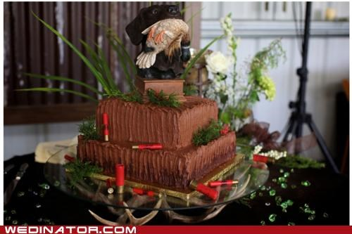 funny wedding photos,hunting,wedding cake