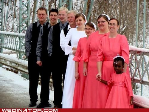 amish,bride,bridesmaids,funny wedding photos,snow,wedding party