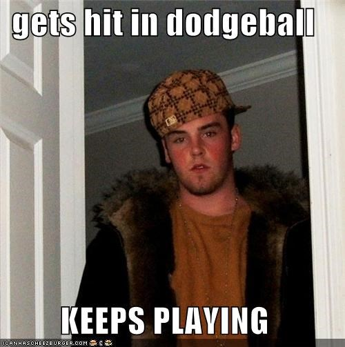 gets hit in dodgeball KEEPS PLAYING