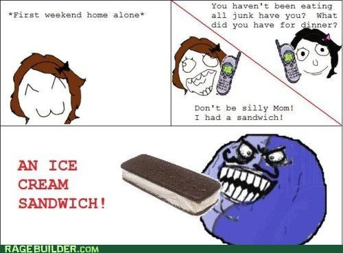 evil,ice cream,Rage Comics,sammich,sandwich,silly