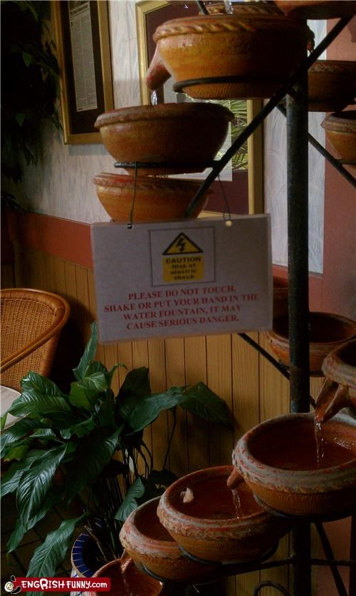 fountain,pot,restaurant,warning