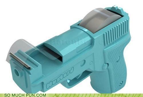 gun,literalism,reinterpretation,tape,tape gun