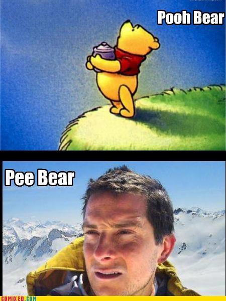 bear grylls,pee,piss,the internets,winnie the pooh