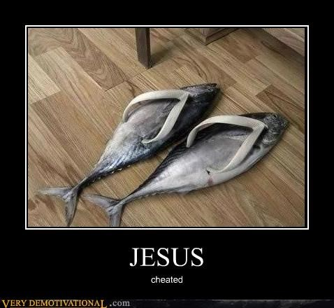 fish hilarious jesus sandals wtf
