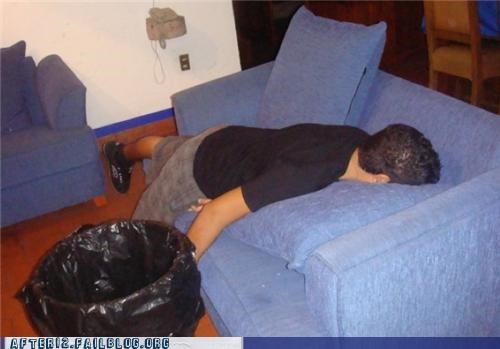 couch,passed out,trash can