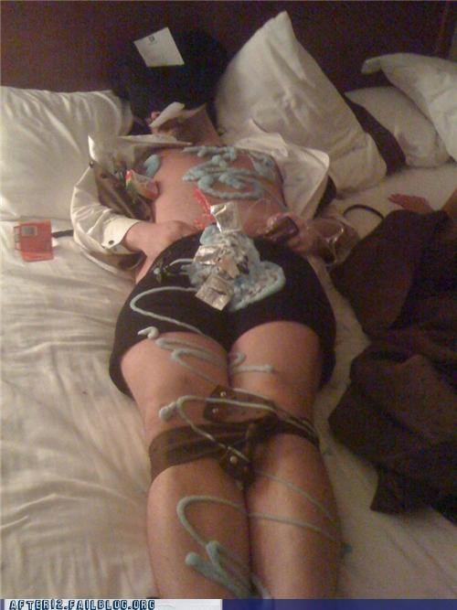 bound,passed out,whipped cream