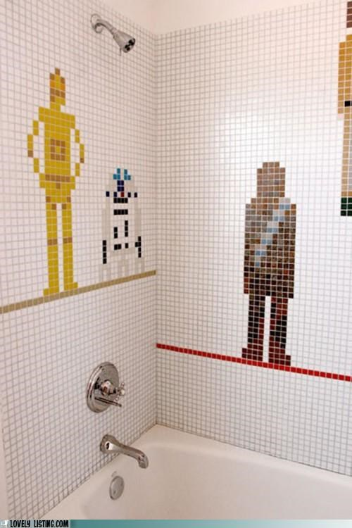 bathroom,characters,shower,star wars,tiles