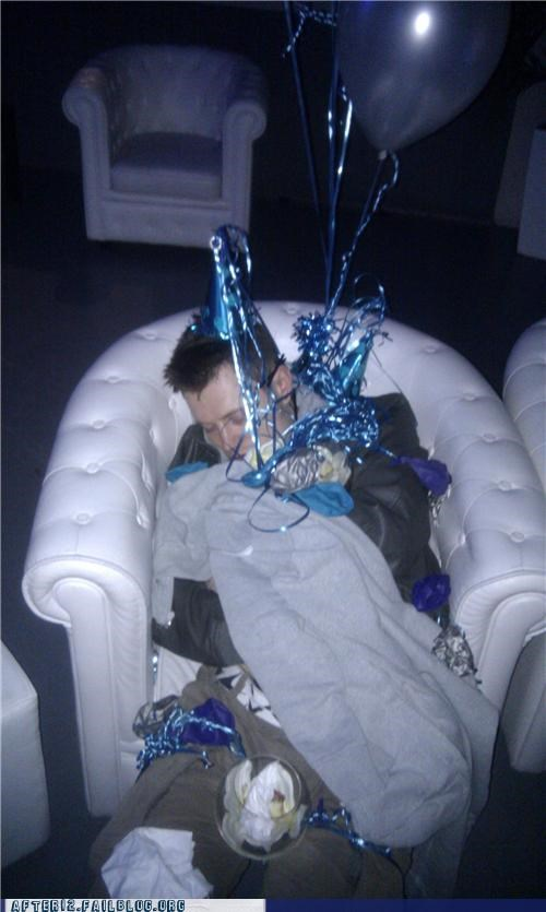 chair,hat,nightclub,passed out