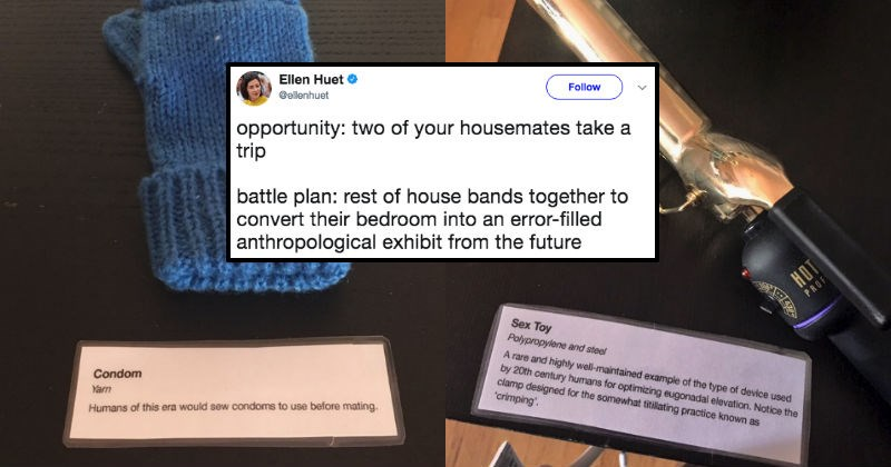 Girl converts her roommate's bedroom into a museum while she's gone.