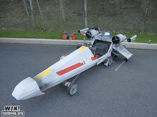 awesome,DIY,nerdgasm,soapbox derby,star wars,X-Wing Fighter