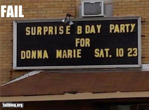 birthday failboat g rated ruined signs surprise surprise party