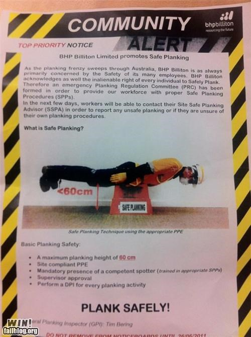 meme Planking poster safety