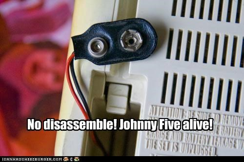 caption,captioned,happy chair is happy,johnny 5,Movie,no disassemble,quote,robot,short circuit
