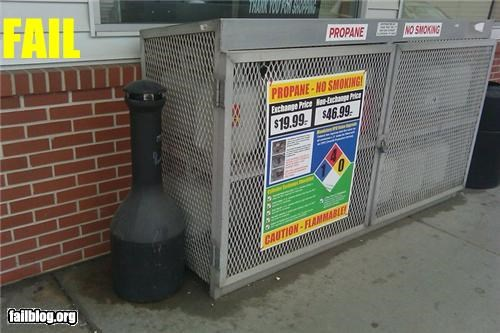 No smoking Where is a good place for smokers to smoke? Next to explosive gasses!!