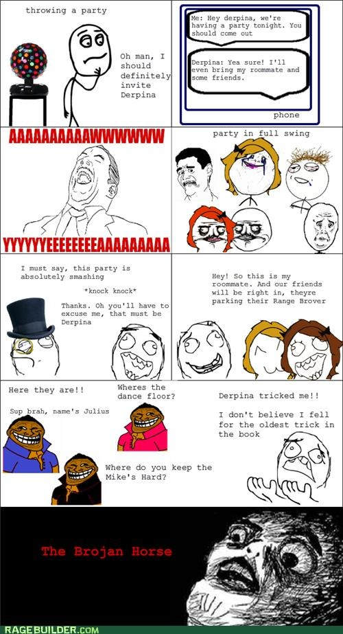brojan,bros,foul,horse,Party,Rage Comics,trojan