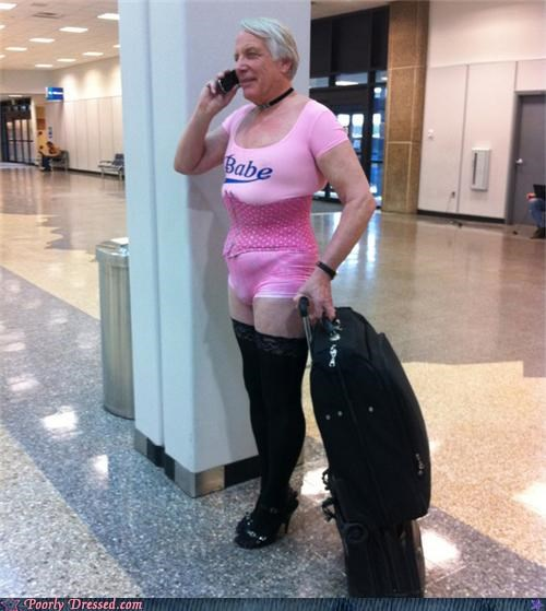 cross dressing pink thigh highs unitard - 4798483712