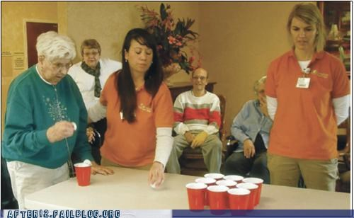 beer pong,old people,retirement home