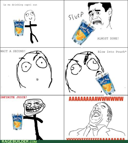 aww yeah,capri sun,infinite,juice,Rage Comics,that sounds naughty