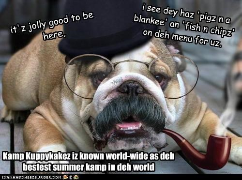 Kamp Kuppykakez iz known world-wide as deh bestest summer kamp in deh world it'z jolly good to be here, i see dey haz 'pigz n a blankee' an 'fish n chipz' on deh menu for uz.
