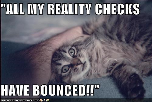 bounced,caption,captioned,cat,check,checks,crazy,pun,reality,Reality Check