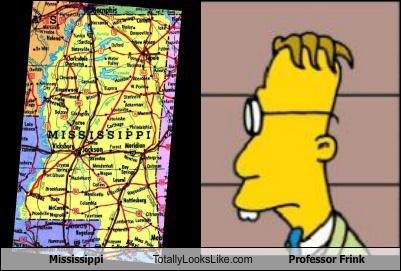 cartoons,mississippi,Professor Frink,states,the simpsons